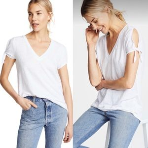 CHASER Tie Sleeve Tee With Deep V Neck In White